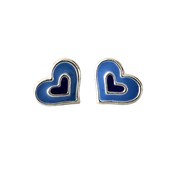 Funky heart blue and silver earrings
