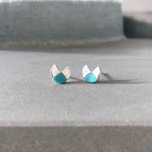 Load image into Gallery viewer, geometric round silver and turquoise stud earrings