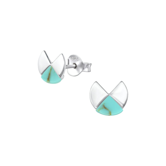 geometric round silver and turquoise stud earrings