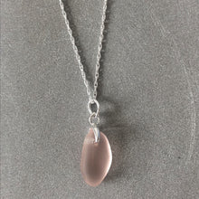 Load image into Gallery viewer, blush sea glass necklace on a silver chain