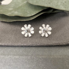 Load image into Gallery viewer, white daisy flower earrings with a crystal cz centre. sterling silverwhite flower stud earrings