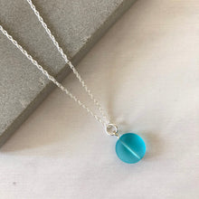Load image into Gallery viewer, Light aqua sea glass pebble necklace