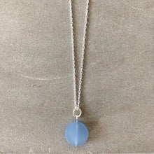 Load image into Gallery viewer, pale blue sea glass round pebble necklace on a sterling silver chain