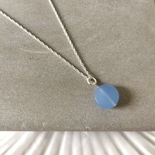 Load image into Gallery viewer, Pale blue sea glass pebble necklace