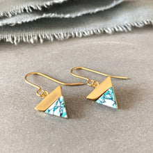 Load image into Gallery viewer, gold triangle drop earrings, mint, grey and white