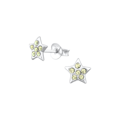 Jonquil crystal star silver earrings