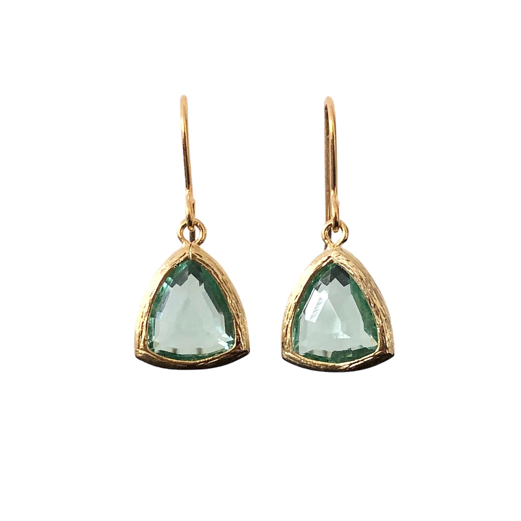 Pale green triangle erinite gold glass drop earrings