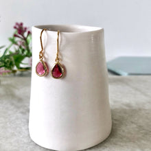 Load image into Gallery viewer, Pink mini glass drop earrings