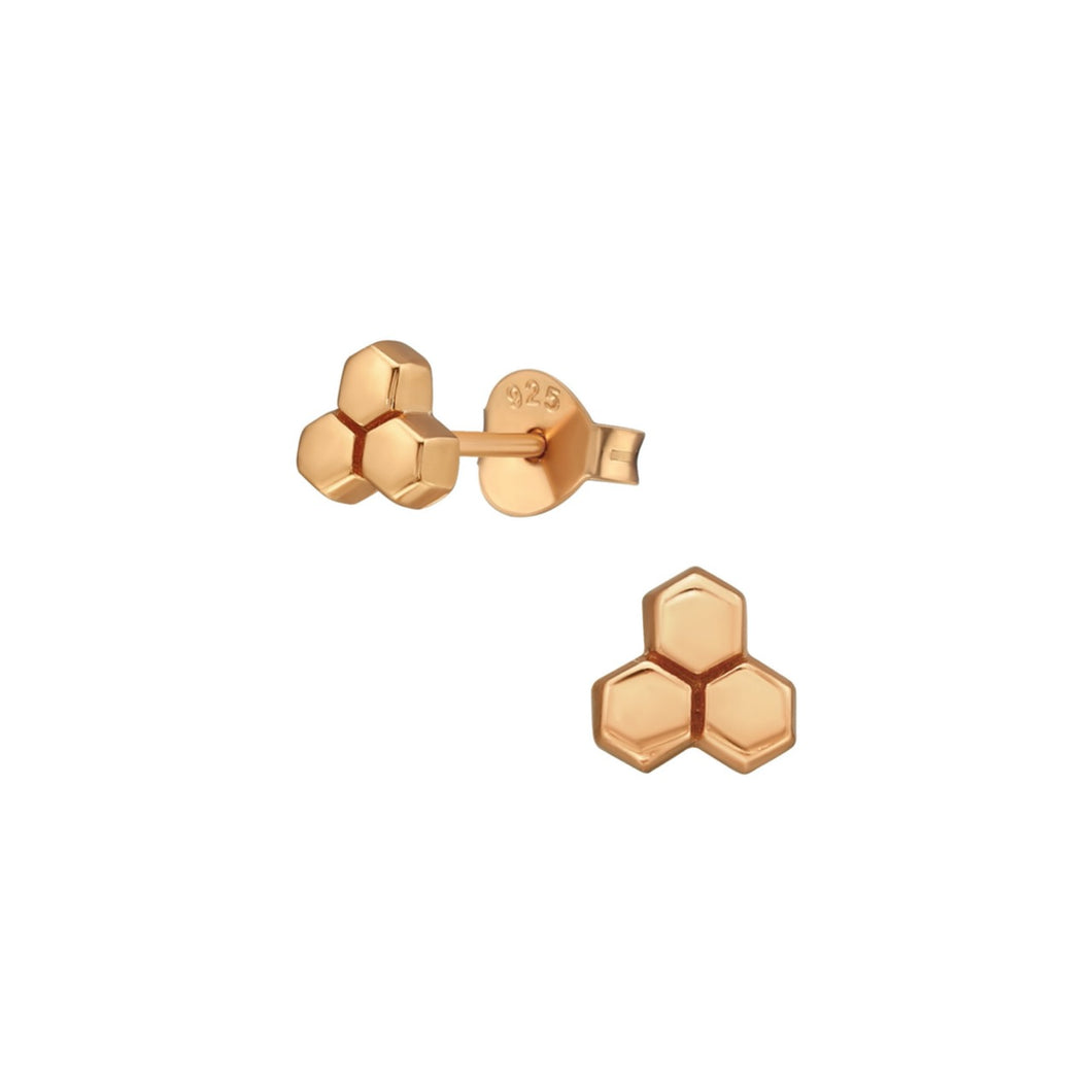 rose gold honeycomb stud earrings
