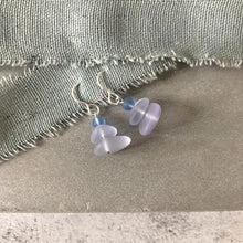 Load image into Gallery viewer, Sea glass stack pale lilac earrings