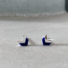 Load image into Gallery viewer, silver blue sodalite stone chevron shaped silver earrings