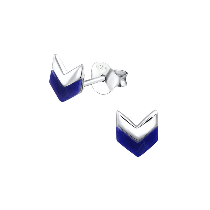 silver blue sodalite stone chevron shaped silver earrings
