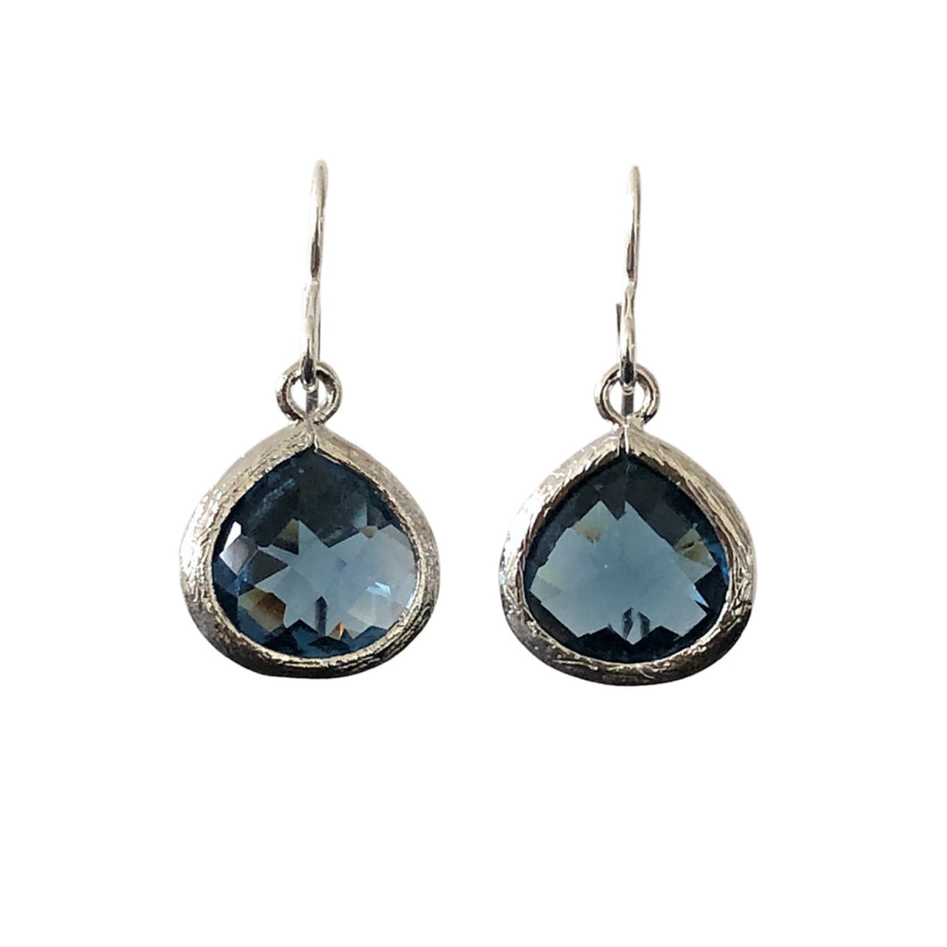 denim blue glass silver drop earrings