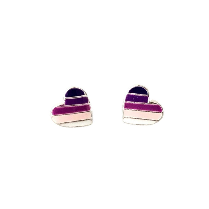 silver purple mauve striped heart earrings
