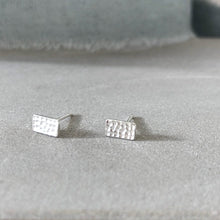 Load image into Gallery viewer, Silver textured rectangle stud earrings