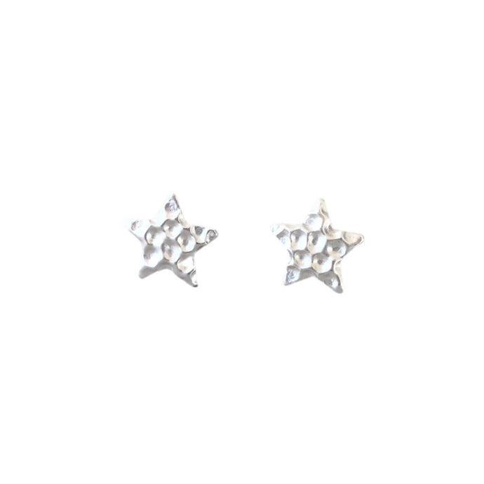 Silver textured star stud earrings