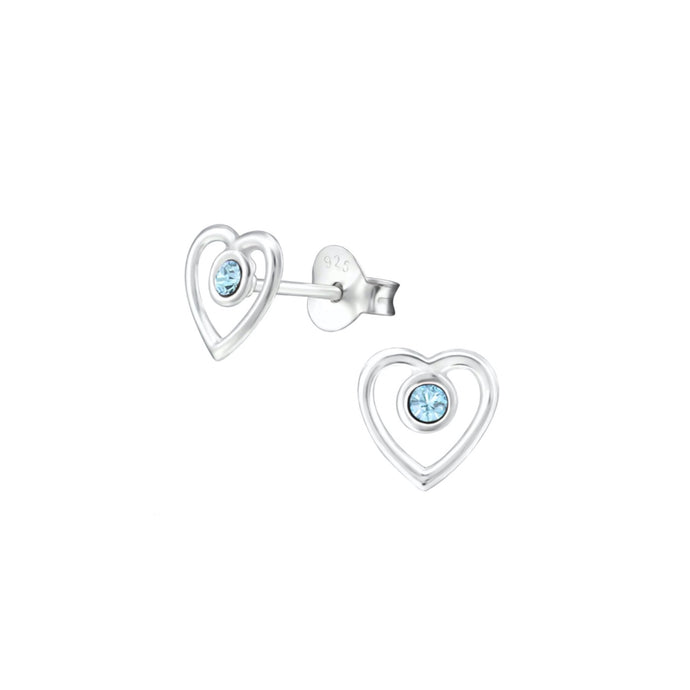 Swarovski aquamarine silver heart stud earrings
