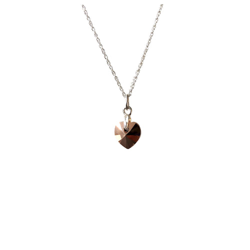 Swarovski rose gold heart necklace on silver chain