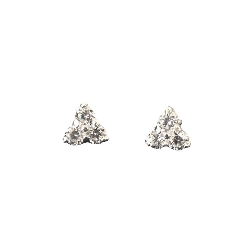 sparkly crystal triangle stud earrings