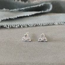 Load image into Gallery viewer, Trinity sparkly crystal triangle stud earrings