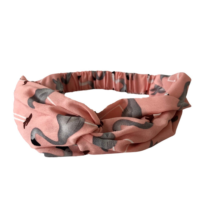 soft pink  headband with grey flamingoes