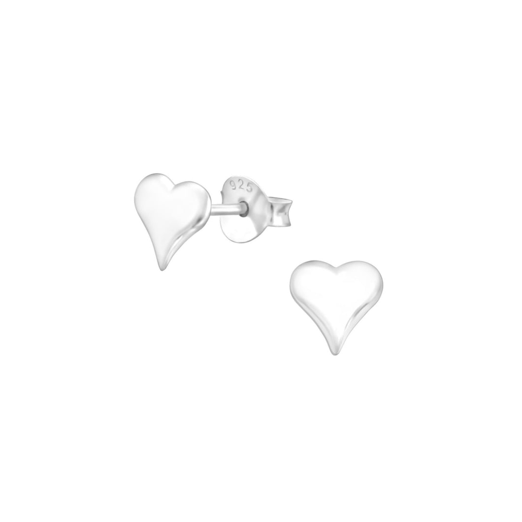 All heart plain silver earrings