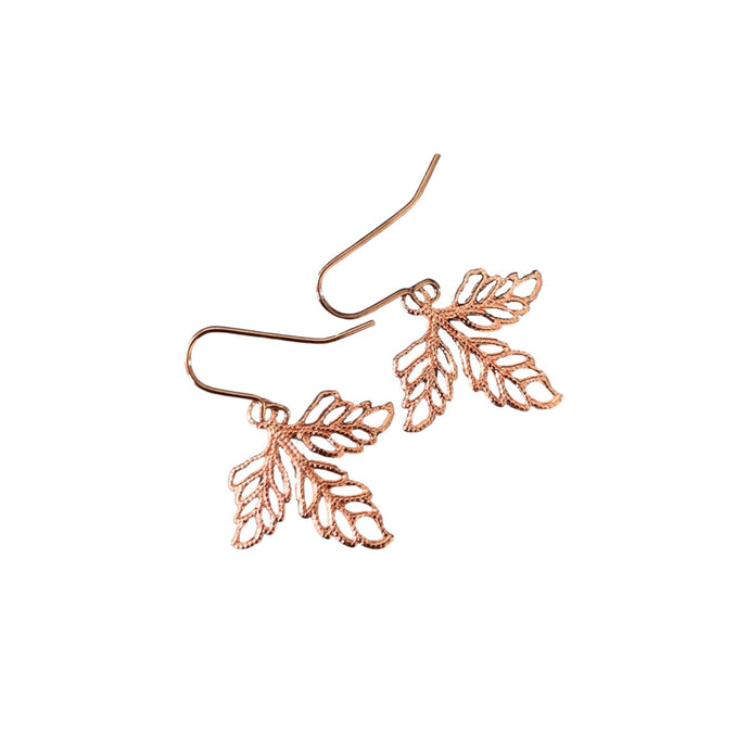 Rose gold boho leaf maple leaf earrings