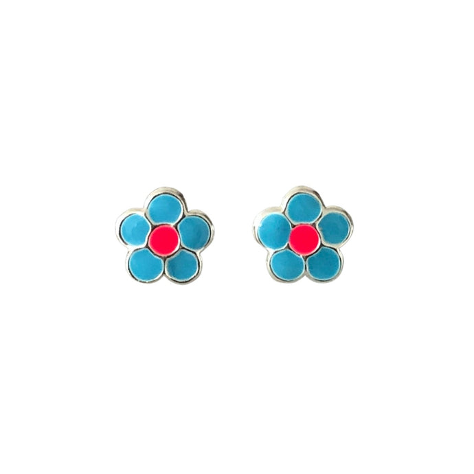 cheery flower blue earrings pink centre