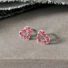 Load image into Gallery viewer, pink crystal heart stud earrings  Edit alt text