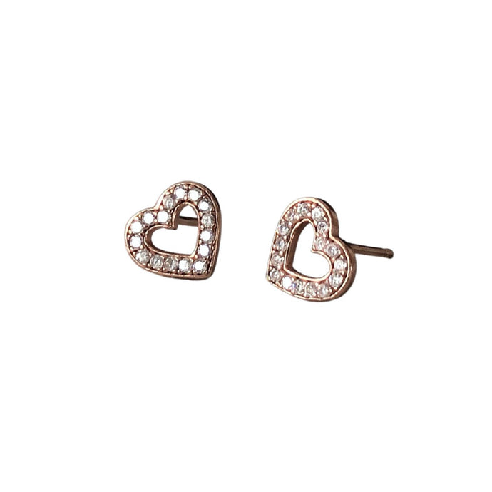 crystal rose gold open heart stud earrings