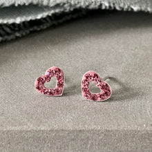 Load image into Gallery viewer, pink crystal heart stud earrings
