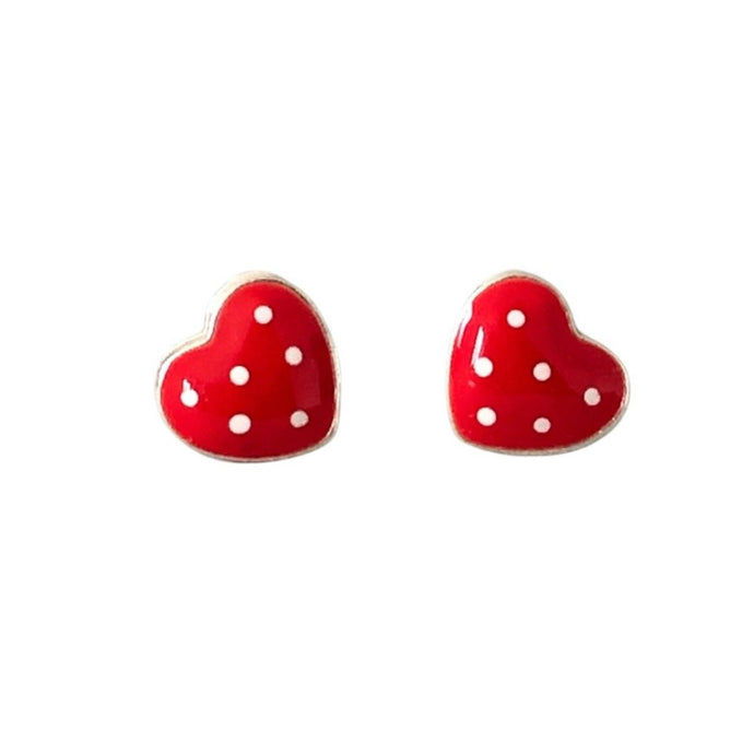Red and white dotty heart earrings