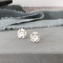 Load image into Gallery viewer, Layered flower silver stud earrings