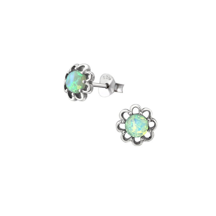 green opal flower stud earrings, aqua green