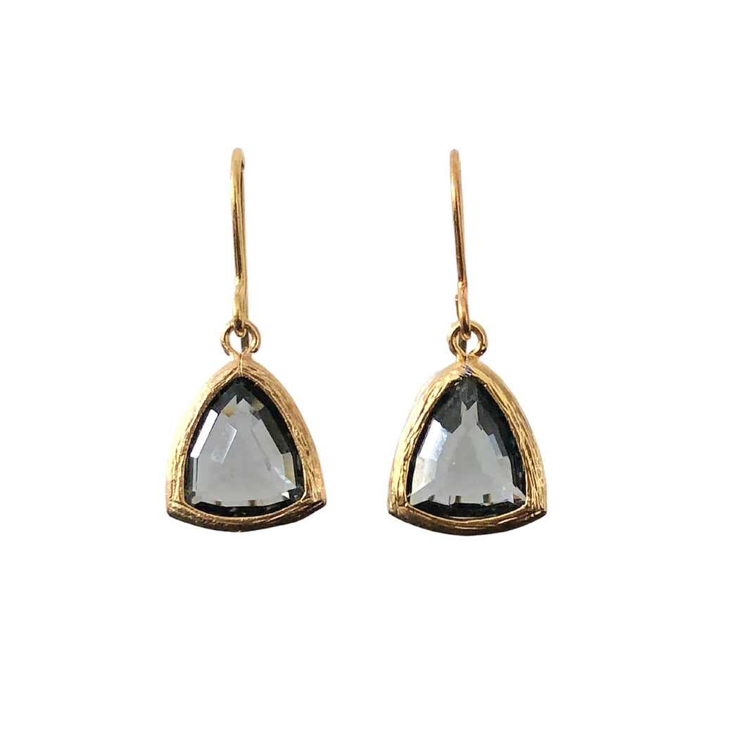 grey triangle gold drop earrings
