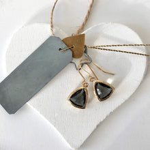 Load image into Gallery viewer, grey  triangle gold drop earrings