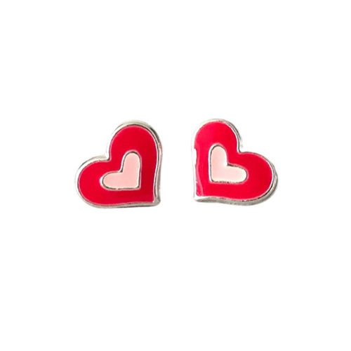 Funky heart red and silver earrings