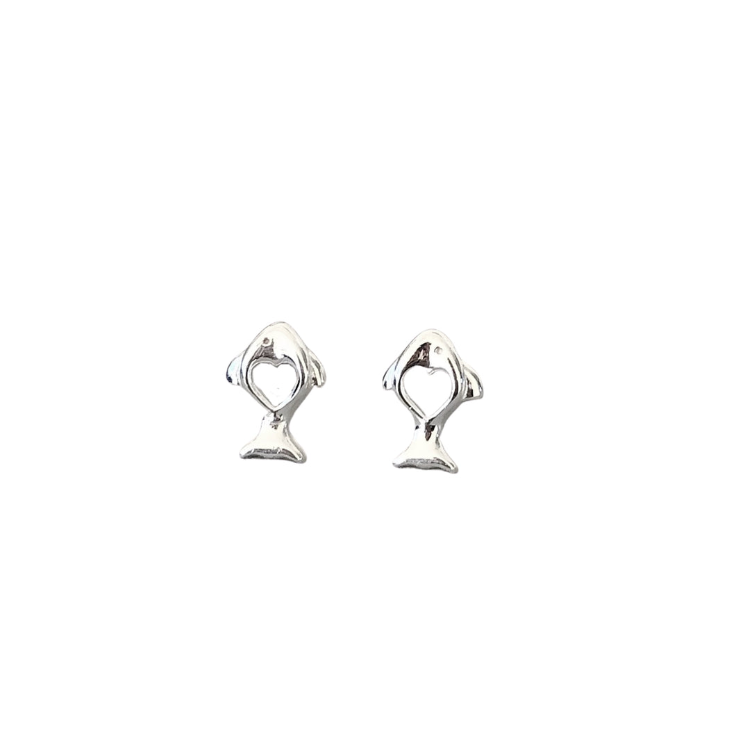 Little fish silver heart stud earrings