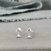 Load image into Gallery viewer, Little fish silver heart stud earrings
