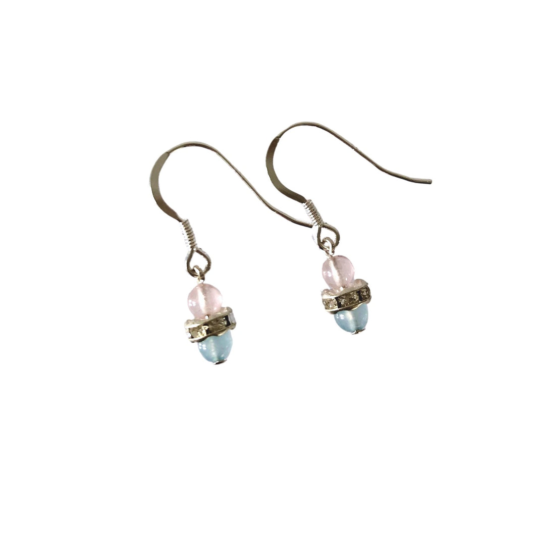 Little gem silber earrings with pale blue and pink agate.