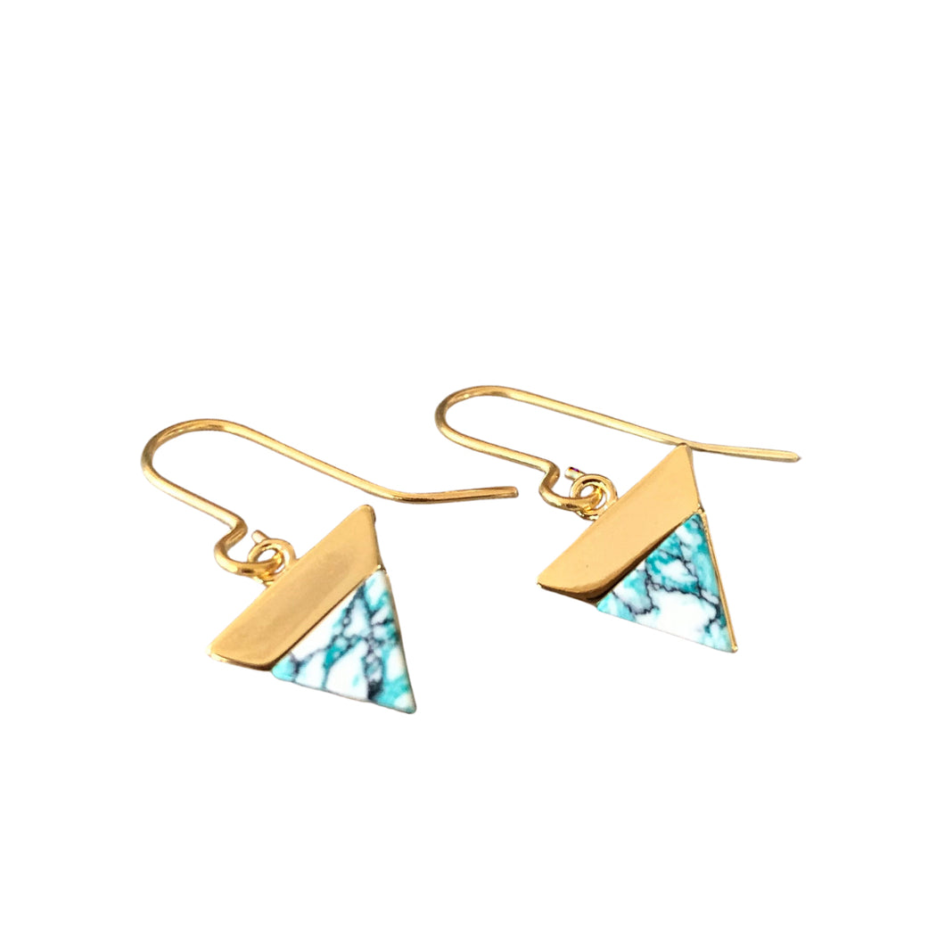 gold triangle drop earrings, mint, grey and white