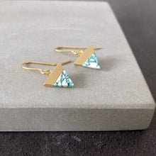 Load image into Gallery viewer, Mint mountain gold earrings