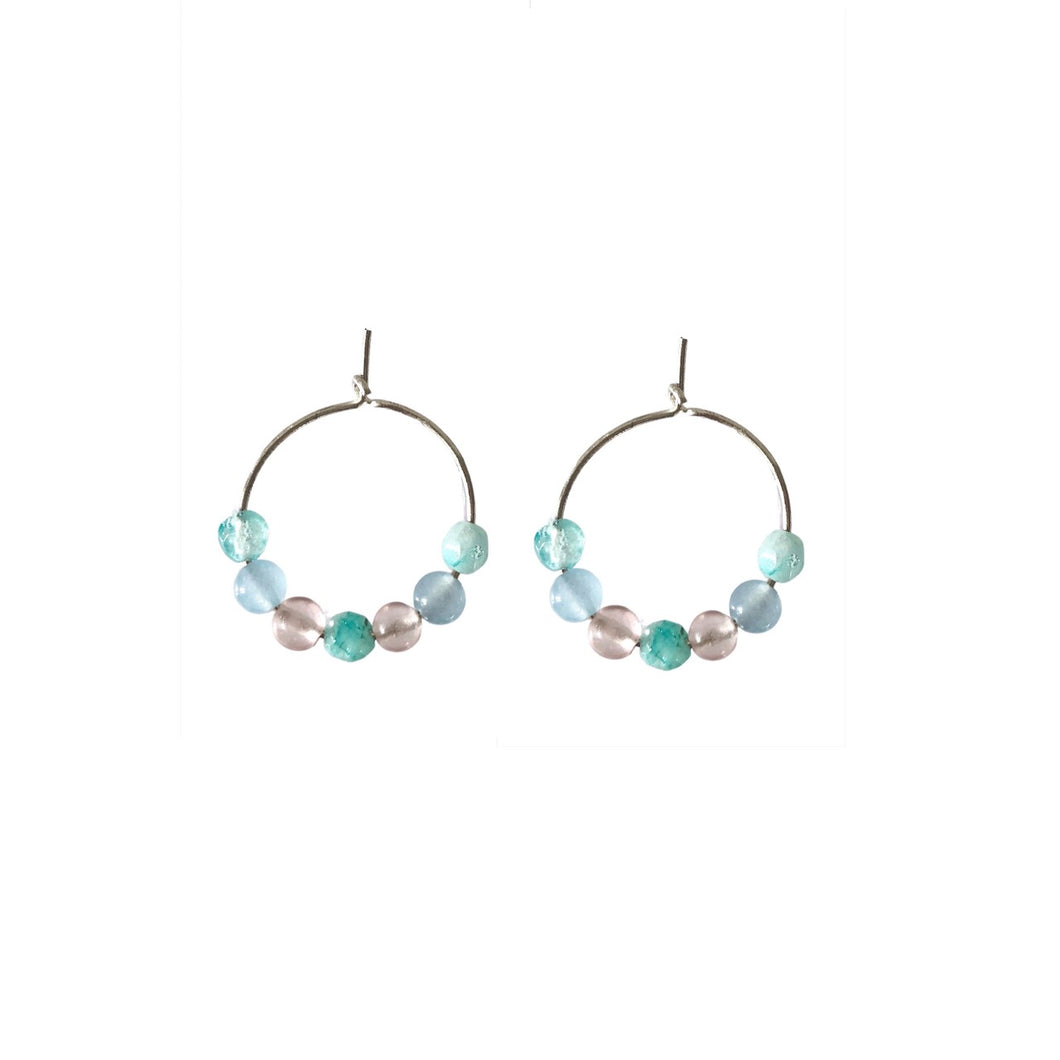 Mixed agate smooth round hoop silver earrings