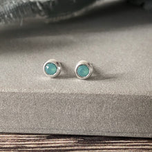 Load image into Gallery viewer, Swarovski pacific opal silver stud earrings