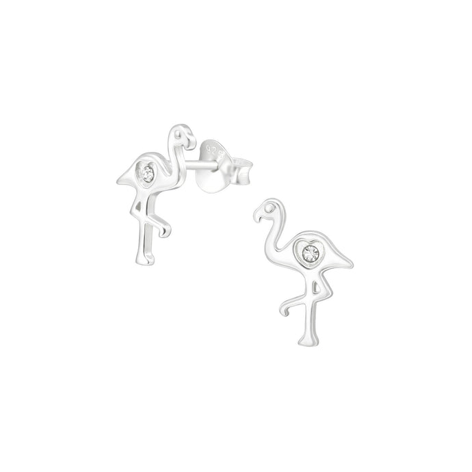 silver flamingo earrings with crystal heart