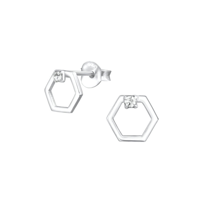 hexagon silver open studs with a crystal.
