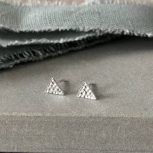 Load image into Gallery viewer, silver textured triangle earrings