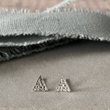 Load image into Gallery viewer, Silver textured triangle stud earrings