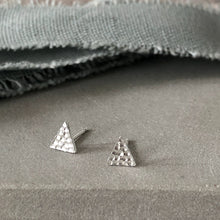 Load image into Gallery viewer, silver textured triangle earrings 1