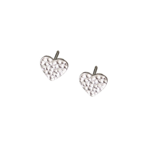textured heart silver stud earrings